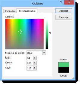 colores personalizados
