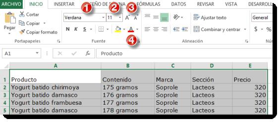 La fuente en Excel