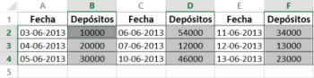 Ingresar datos discontinuos Excel
